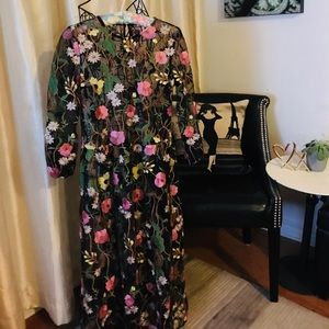 H&M Sheer Floral Long Sleeve Long Dress